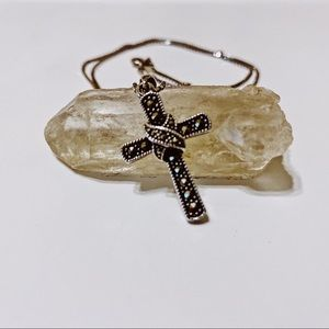 Stirling Silver and Marcasite Cross Necklace